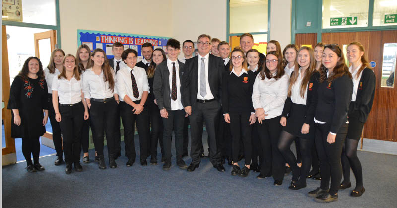 Mick with Bryn students